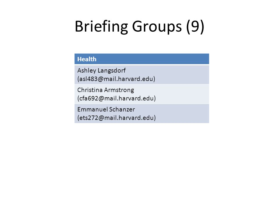 Briefing Groups (9) Health Ashley Langsdorf (asl483@mail.harvard.edu) Christina Armstrong (cfa692@mail.harvard.edu) Emmanuel Schanzer (ets272@mail.har