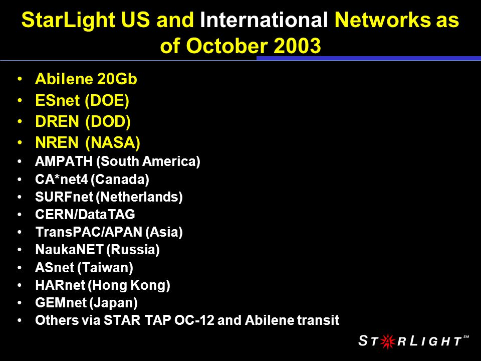 StarLight US and International Networks as of October 2003 Abilene 20Gb ESnet (DOE) DREN (DOD) NREN (NASA) AMPATH (South America) CA*net4 (Canada) SURFnet (Netherlands) CERN/DataTAG TransPAC/APAN (Asia) NaukaNET (Russia) ASnet (Taiwan) HARnet (Hong Kong) GEMnet (Japan) Others via STAR TAP OC-12 and Abilene transit