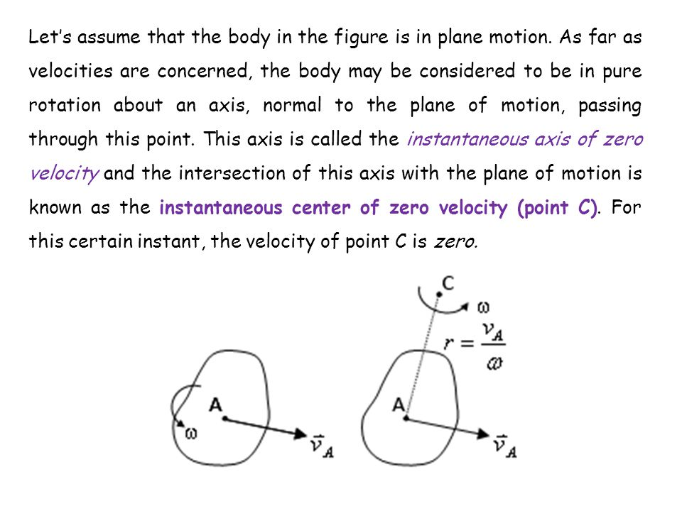 Let's assume that the body in the figure is in plane motion. As far as velocities are concerned, the body may be considered to be in pure rotation abo
