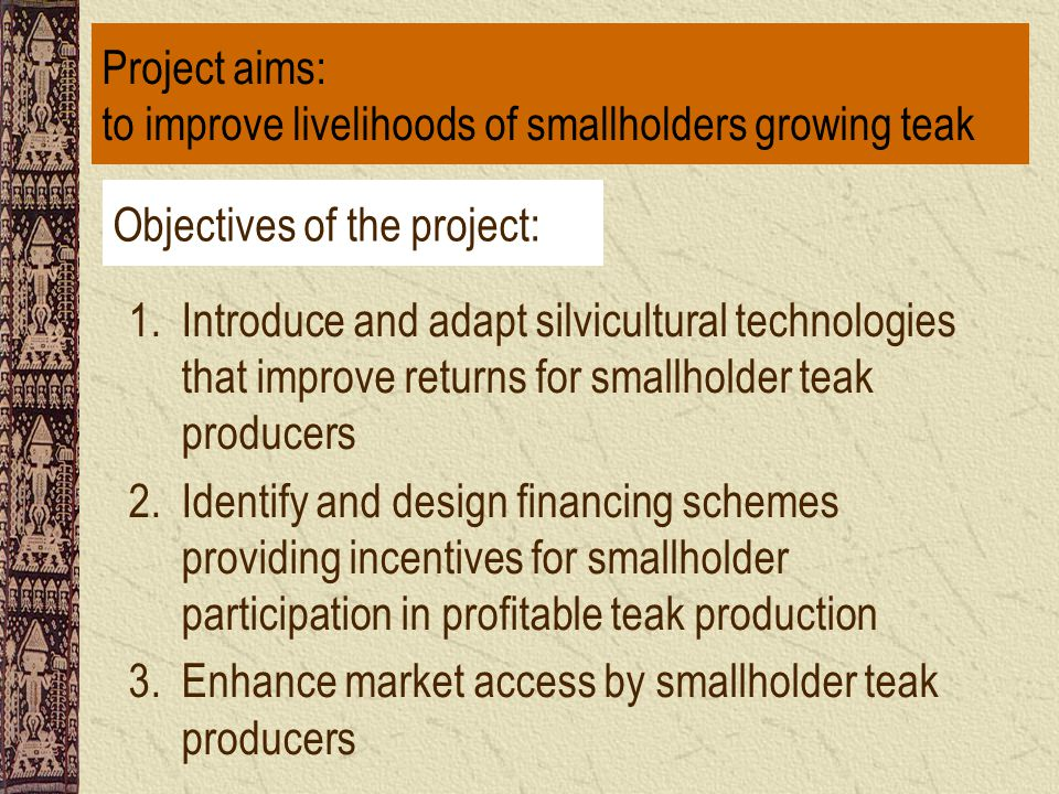 Objectives of the project: 1.Introduce and adapt silvicultural technologies that improve returns for smallholder teak producers 2.Identify and design financing schemes providing incentives for smallholder participation in profitable teak production 3.Enhance market access by smallholder teak producers Project aims: to improve livelihoods of smallholders growing teak