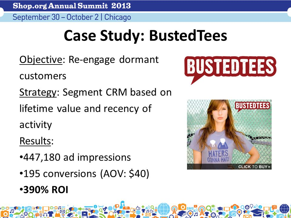 Case Study: BustedTees Objective: Re-engage dormant customers Strategy: Segment CRM based on lifetime value and recency of activity Results: 447,180 ad impressions 195 conversions (AOV: $40) 390% ROI