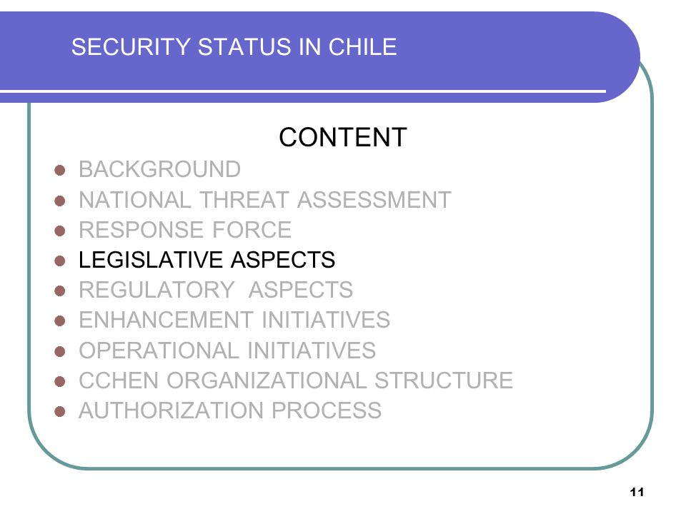 11 SECURITY STATUS IN CHILE CONTENT BACKGROUND NATIONAL THREAT ASSESSMENT RESPONSE FORCE LEGISLATIVE ASPECTS REGULATORY ASPECTS ENHANCEMENT INITIATIVES OPERATIONAL INITIATIVES CCHEN ORGANIZATIONAL STRUCTURE AUTHORIZATION PROCESS