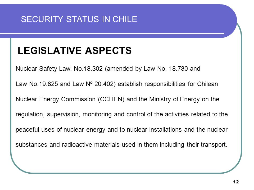 12 SECURITY STATUS IN CHILE LEGISLATIVE ASPECTS Nuclear Safety Law, No.18.302 (amended by Law No. 18.730 and Law No.19.825 and Law Nº 20.402) establis