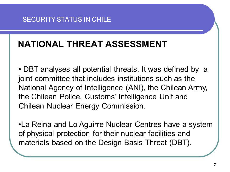 8 SECURITY STATUS IN CHILE CONTENT BACKGROUND NATIONAL THREAT ASSESSMENT RESPONSE FORCE LEGISLATIVE ASPECTS REGULATORY ASPECTS ENHANCEMENT INITIATIVES OPERATIONAL INITIATIVES CCHEN ORGANIZATIONAL STRUCTURE AUTHORIZATION PROCESS