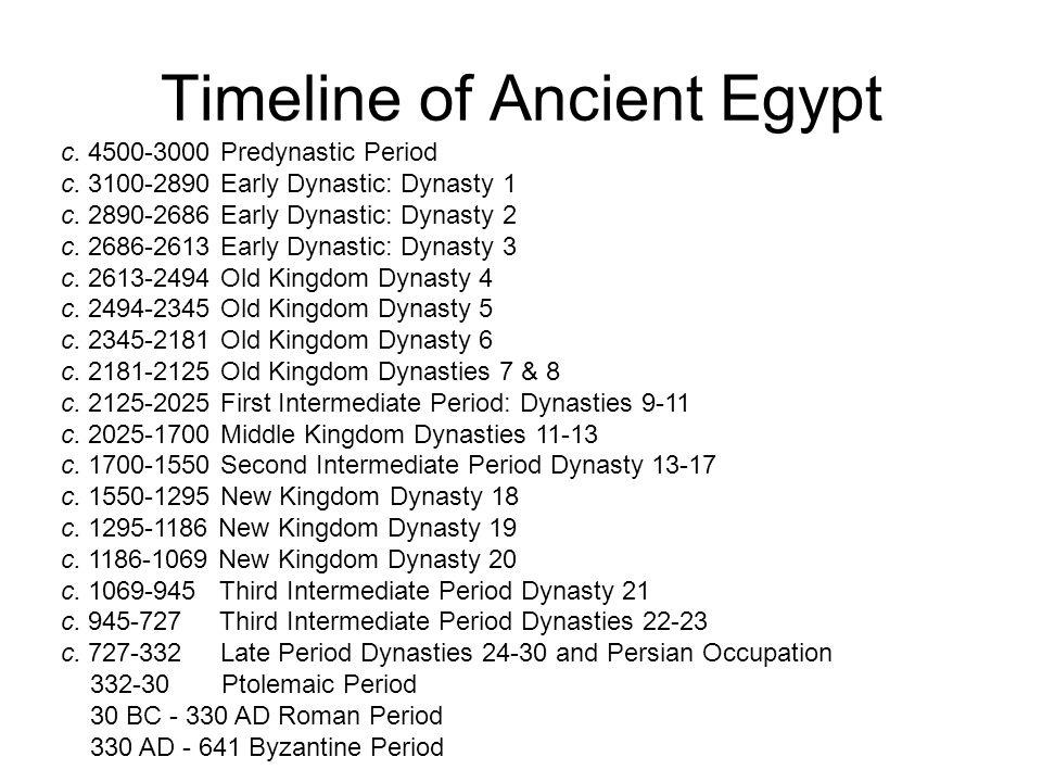 Timeline of Ancient Egypt c. 4500-3000 Predynastic Period c. 3100-2890 Early Dynastic: Dynasty 1 c. 2890-2686 Early Dynastic: Dynasty 2 c. 2686-2613 E