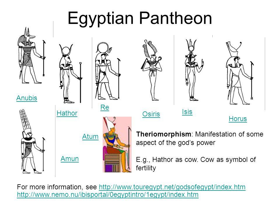 Egyptian Pantheon For more information, see http://www.touregypt.net/godsofegypt/index.htm http://www.nemo.nu/ibisportal/0egyptintro/1egypt/index.htmh