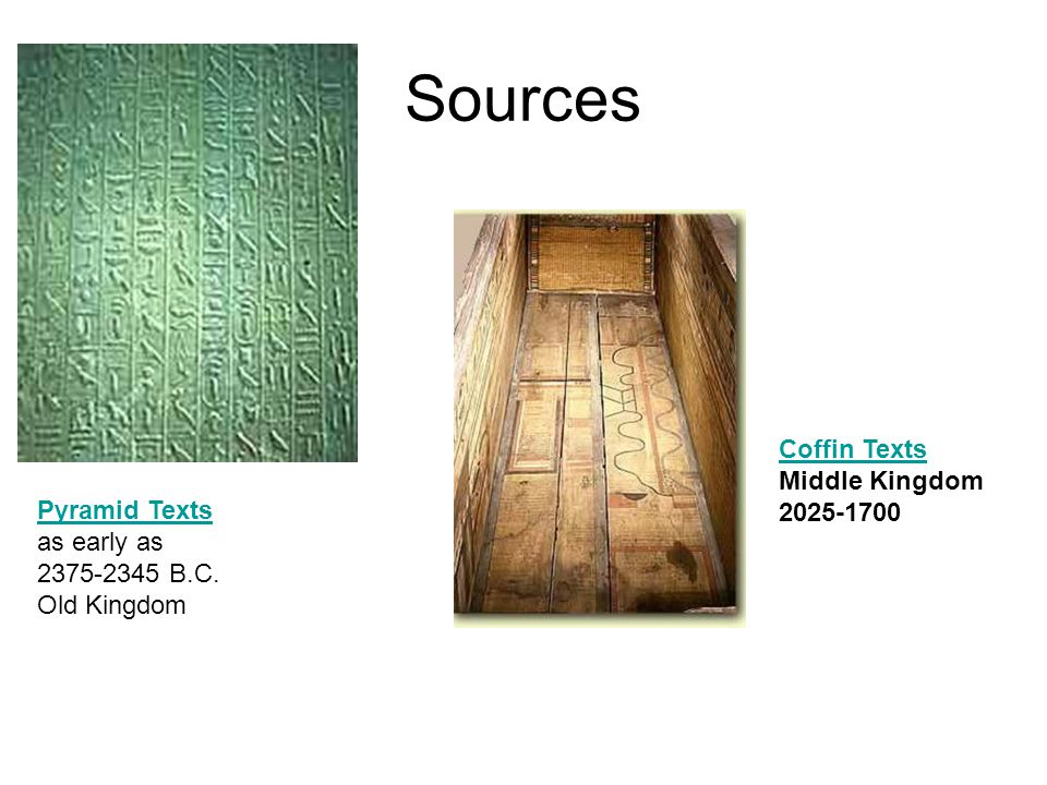 Sources Pyramid Texts as early as 2375-2345 B.C. Old Kingdom Coffin Texts Middle Kingdom 2025-1700