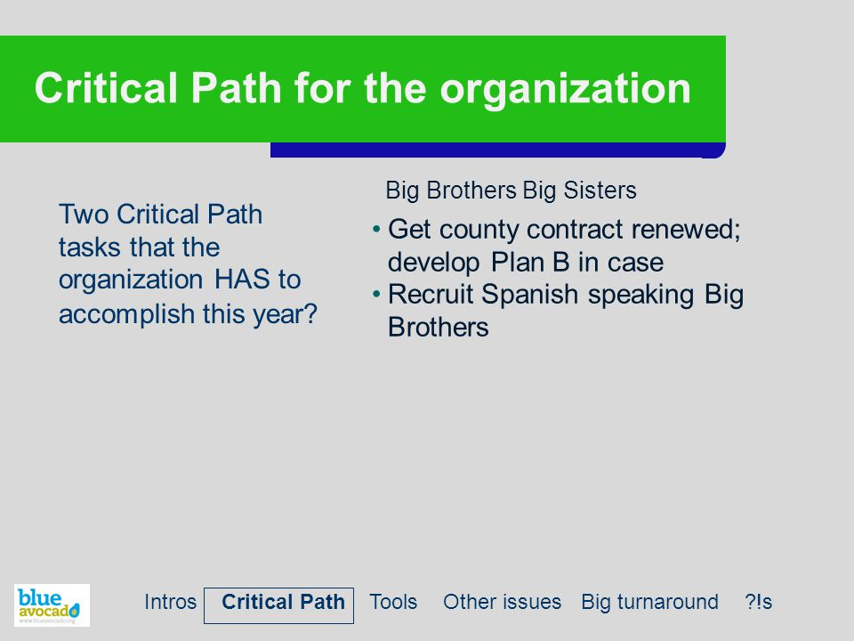 Critical Path for the organization Two Critical Path tasks that the organization HAS to accomplish this year? Get county contract renewed; develop Pla