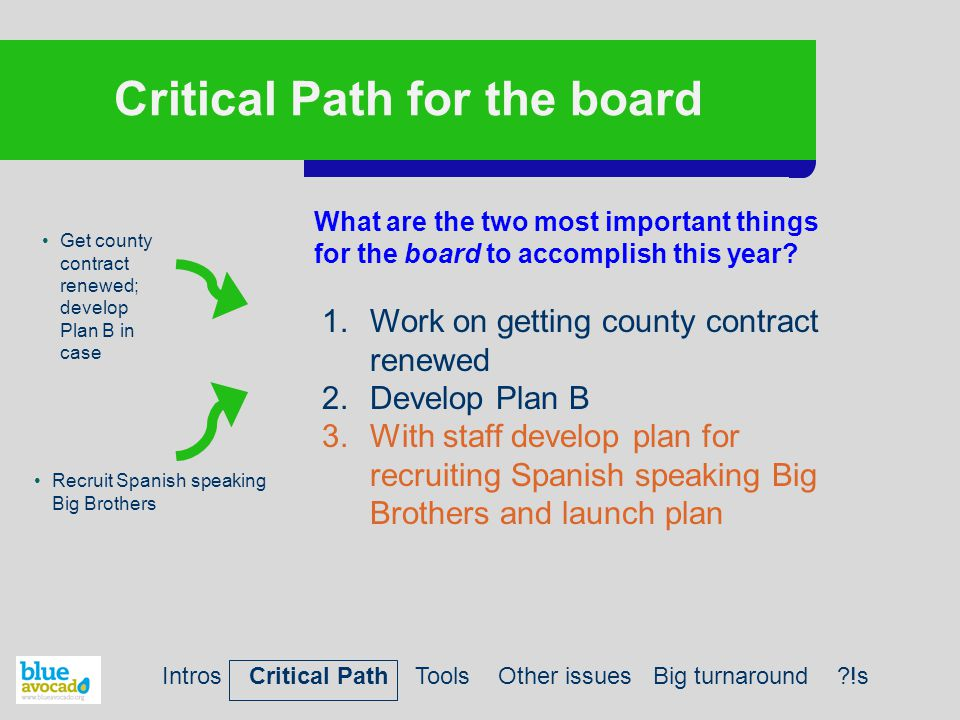 Critical Path for the board What are the two most important things for the board to accomplish this year? Get county contract renewed; develop Plan B