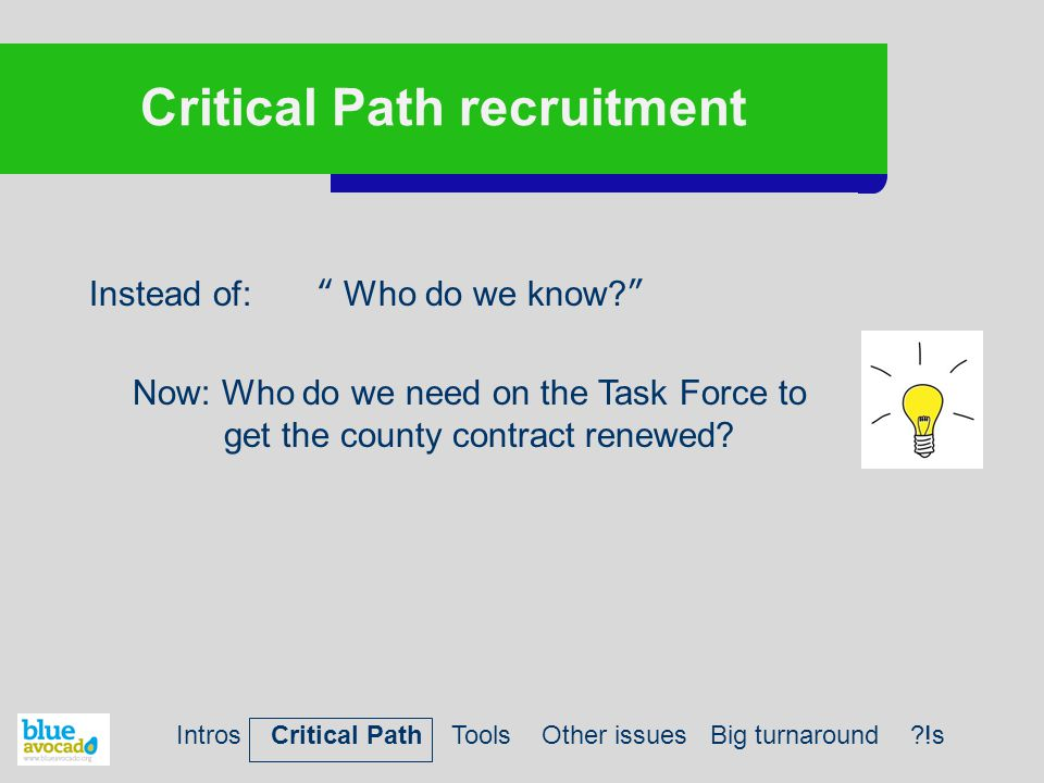 Critical Path recruitment Instead of: Who do we know? Now: Who do we need on the Task Force to get the county contract renewed.