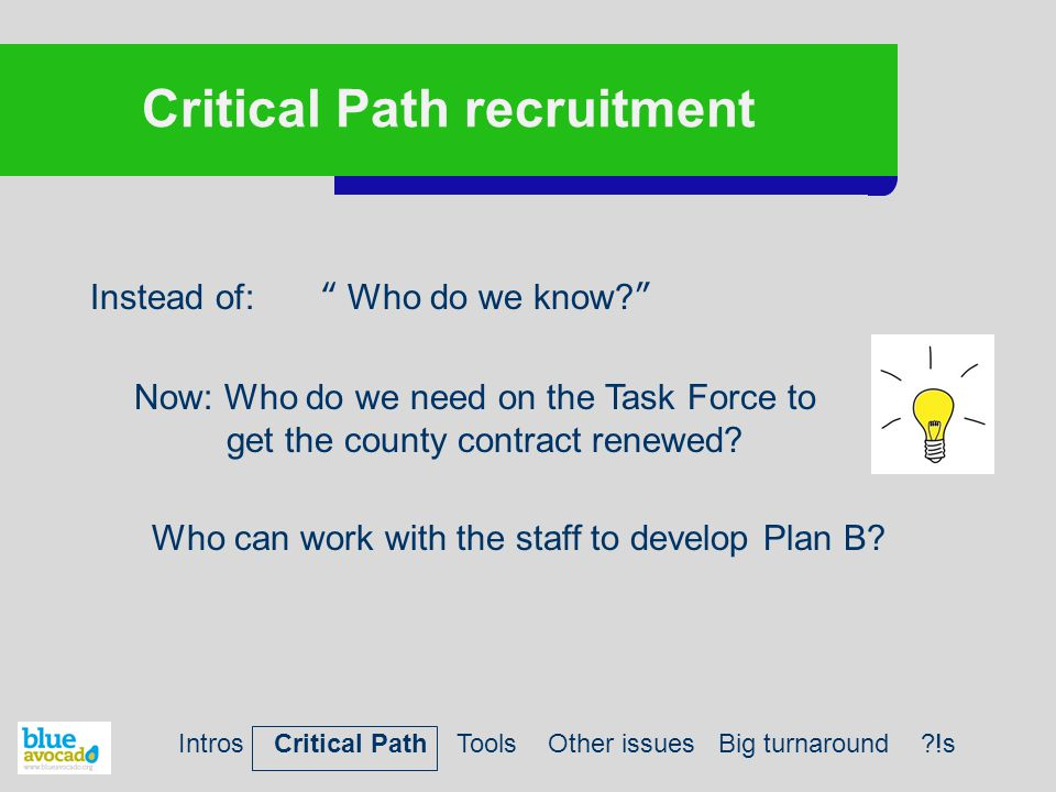 """Critical Path recruitment Instead of: """" Who do we know?"""" Now: Who do we need on the Task Force to get the county contract renewed? Who can work with t"""