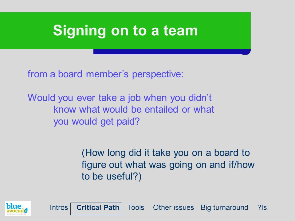 Signing on to a team from a board member's perspective: Would you ever take a job when you didn't know what would be entailed or what you would get paid.