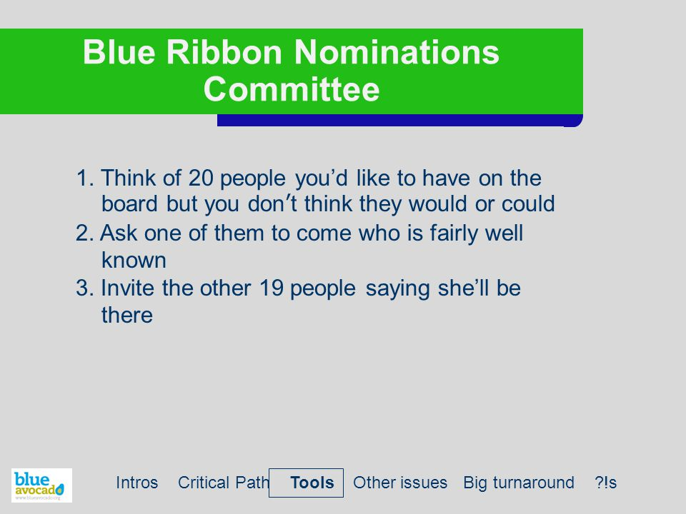 Blue Ribbon Nominations Committee 1.