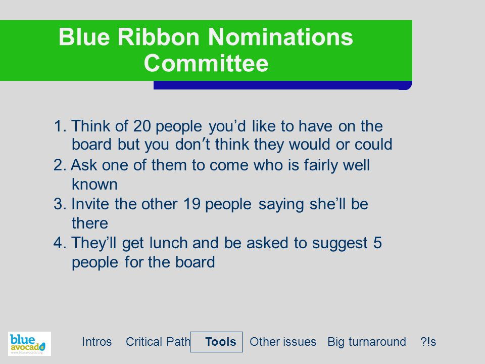 Blue Ribbon Nominations Committee 1. Think of 20 people you'd like to have on the board but you don't think they would or could 2. Ask one of them to
