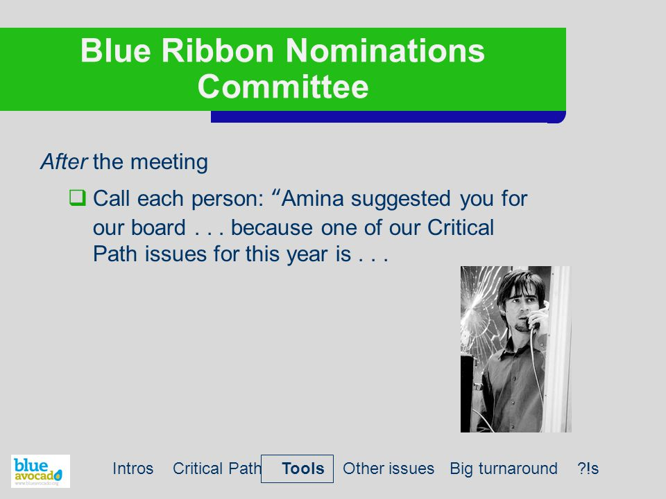 """Blue Ribbon Nominations Committee After the meeting  Call each person: """"Amina suggested you for our board... because one of our Critical Path issues"""