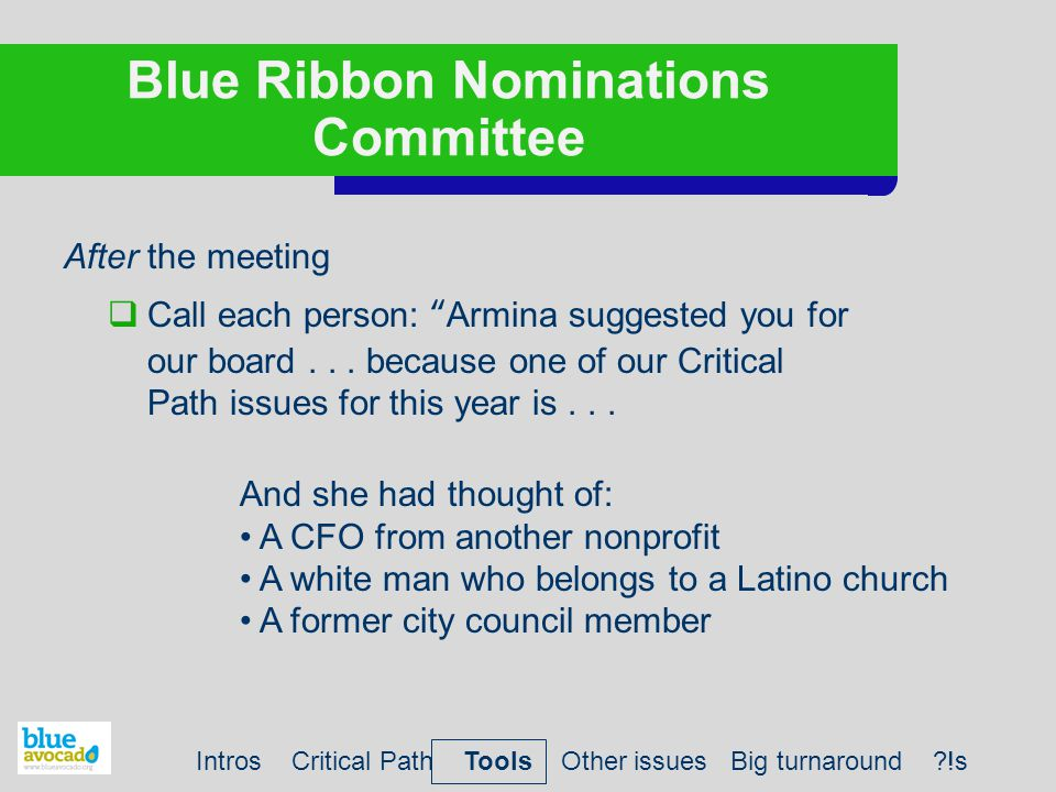 Blue Ribbon Nominations Committee After the meeting  Call each person: Armina suggested you for our board...
