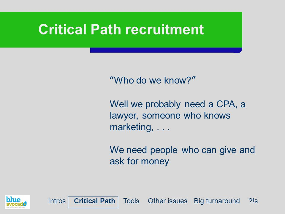 """Critical Path recruitment """"Who do we know?"""" Well we probably need a CPA, a lawyer, someone who knows marketing,... We need people who can give and ask"""