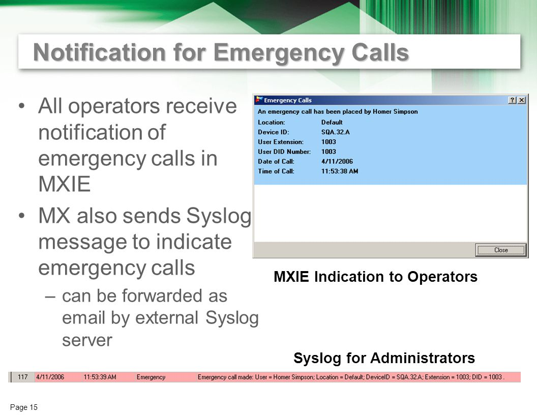 Page 14 Preemption for Emergency Calls When all call resources are in use and an emergency call is made –MX30 or MX250 recognizes emergency call –drops an active call –allows the emergency call to go through