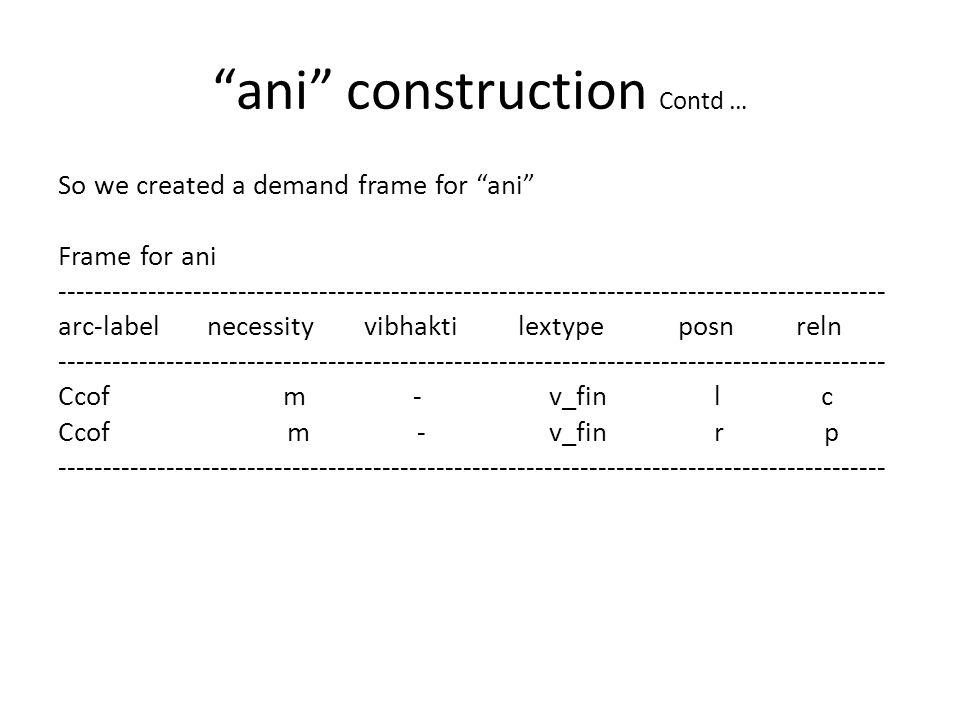 ani construction Contd … So we created a demand frame for ani Frame for ani -------------------------------------------------------------------------------------------- arc-label necessity vibhakti lextype posn reln -------------------------------------------------------------------------------------------- Ccof m - v_fin l c Ccof m - v_fin r p --------------------------------------------------------------------------------------------