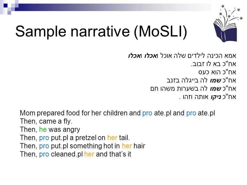 Sample narrative (MoSLI) אמא הכינה לילדים שלה אוכל ואכלו ואכלו אח כ בא לו זבוב.