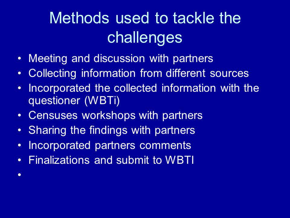 Methods used to tackle the challenges Meeting and discussion with partners Collecting information from different sources Incorporated the collected information with the questioner (WBTi) Censuses workshops with partners Sharing the findings with partners Incorporated partners comments Finalizations and submit to WBTI