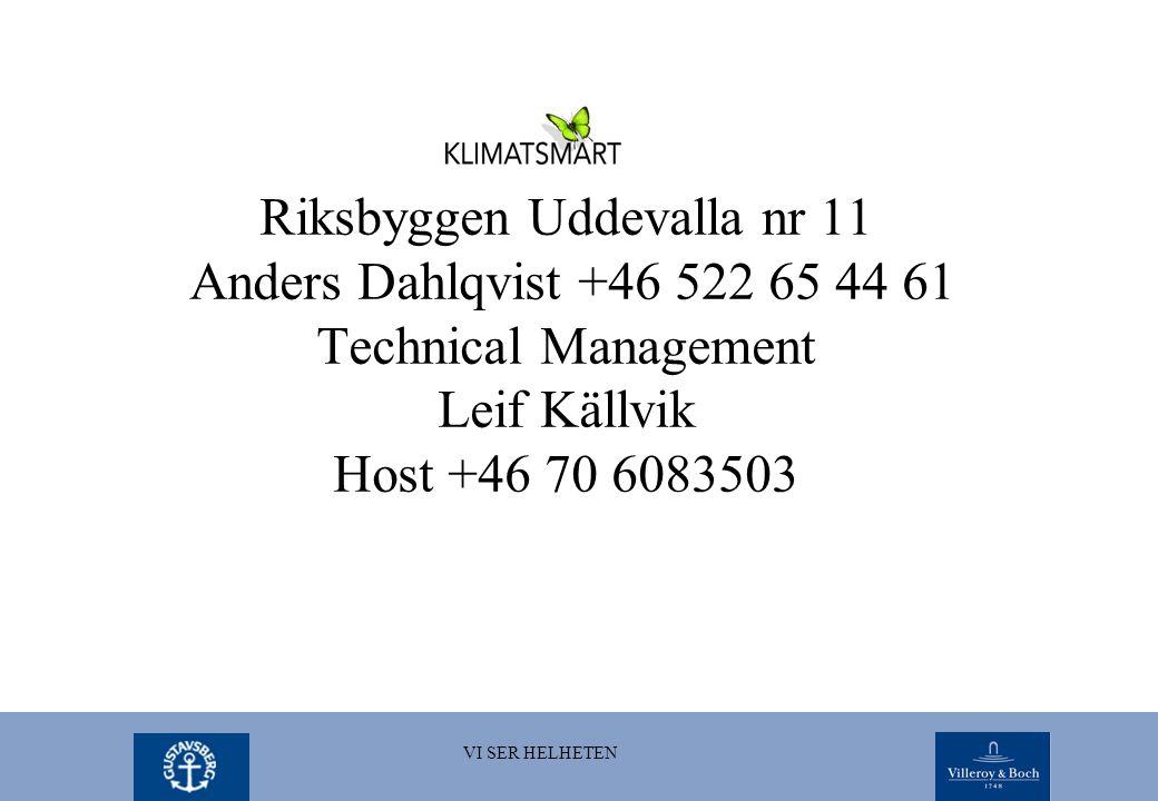 Riksbyggen Uddevalla nr 11 Anders Dahlqvist +46 522 65 44 61 Technical Management Leif Källvik Host +46 70 6083503 VI SER HELHETEN