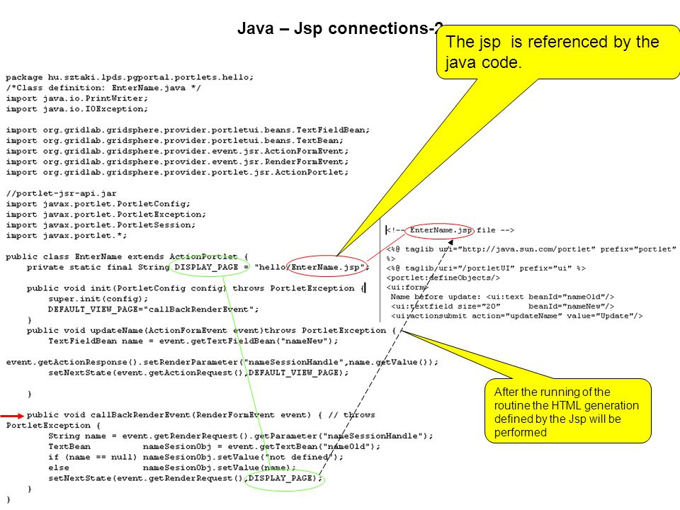 Java – Jsp connections-2 The jsp is referenced by the java code.