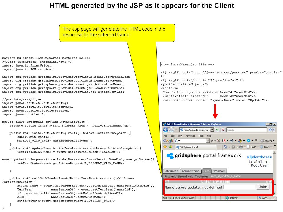 HTML generated by the JSP as it appears for the Client The Jsp page will generate the HTML code in the response for the selected frame
