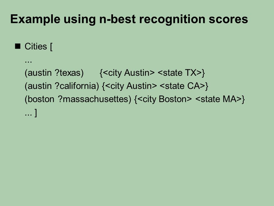 Example using n-best recognition scores Cities [...