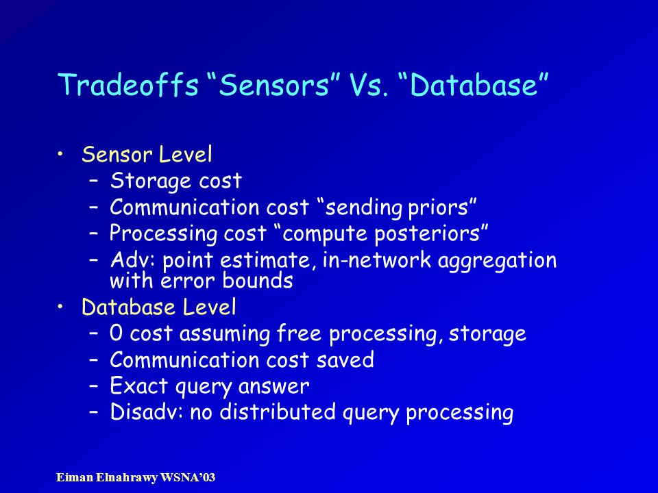 "Eiman Elnahrawy WSNA'03 Tradeoffs ""Sensors"" Vs. ""Database"" Sensor Level –Storage cost –Communication cost ""sending priors"" –Processing cost ""compute p"