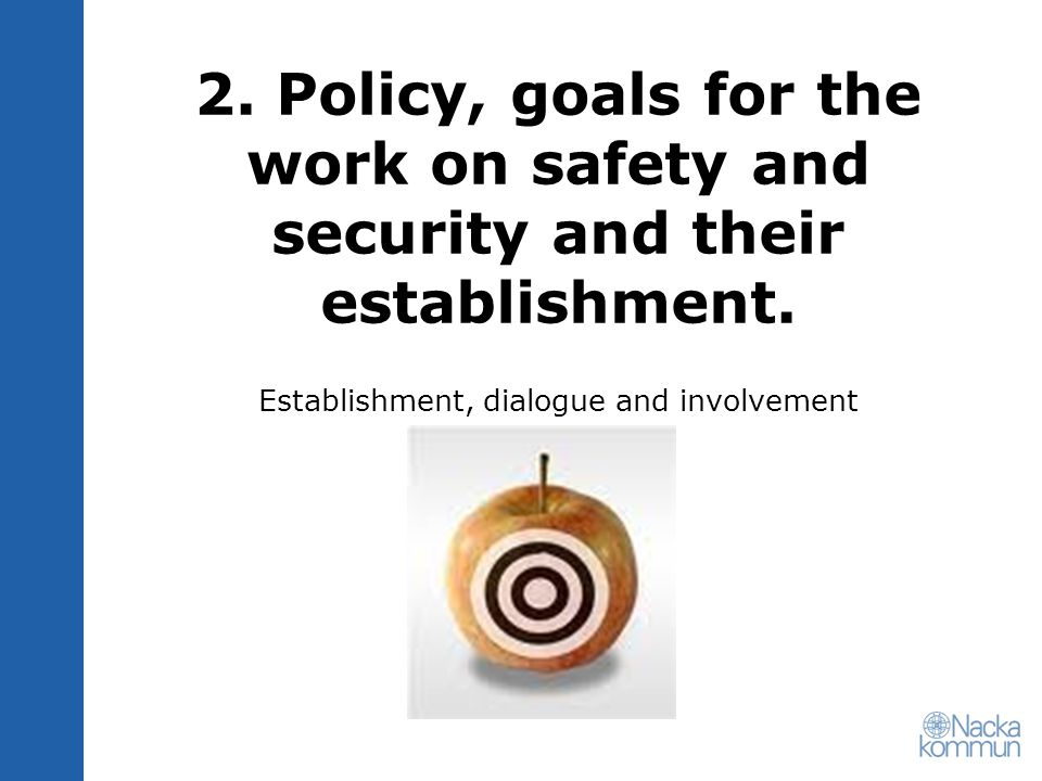 2. Policy, goals for the work on safety and security and their establishment.