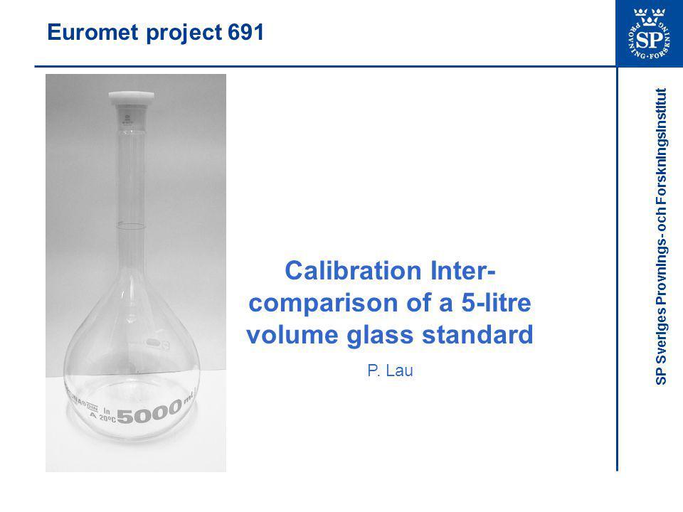 SP Sveriges Provnings- och Forskningsinstitut Euromet project 691 Calibration Inter- comparison of a 5-litre volume glass standard P.