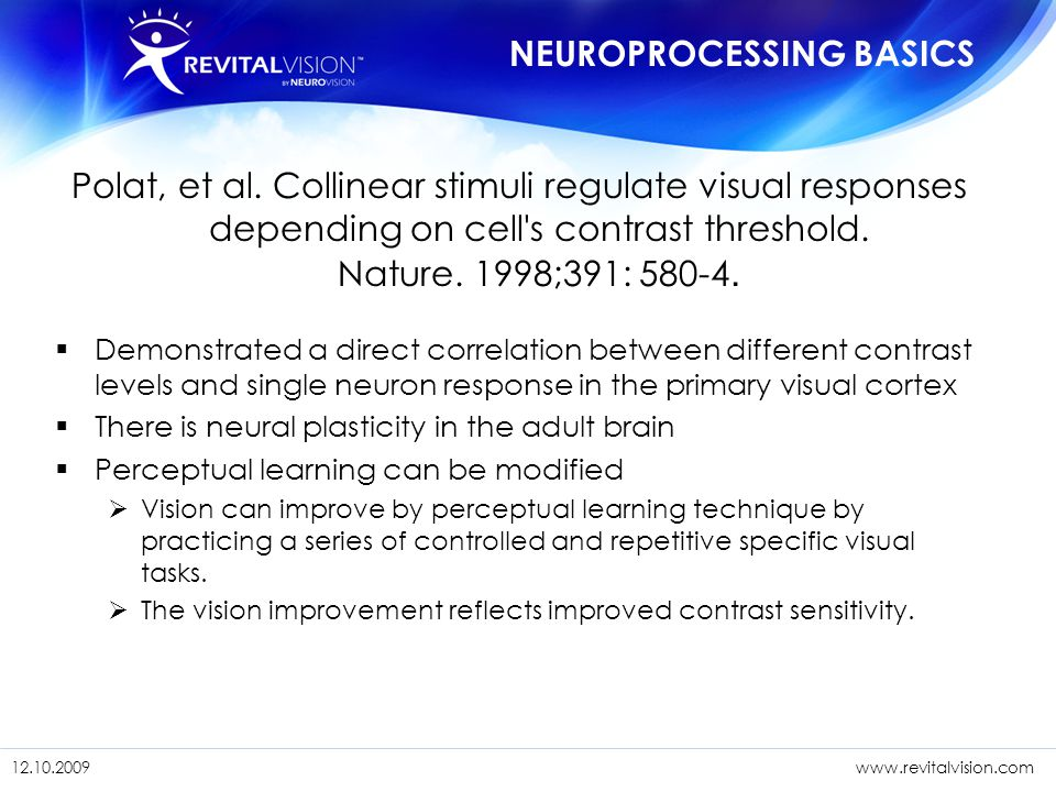 1/11/201518 12.10. 09www.revitalvision.com 1/11/201518 12.10.2009www.revitalvision.com Polat, et al. Collinear stimuli regulate visual responses depen