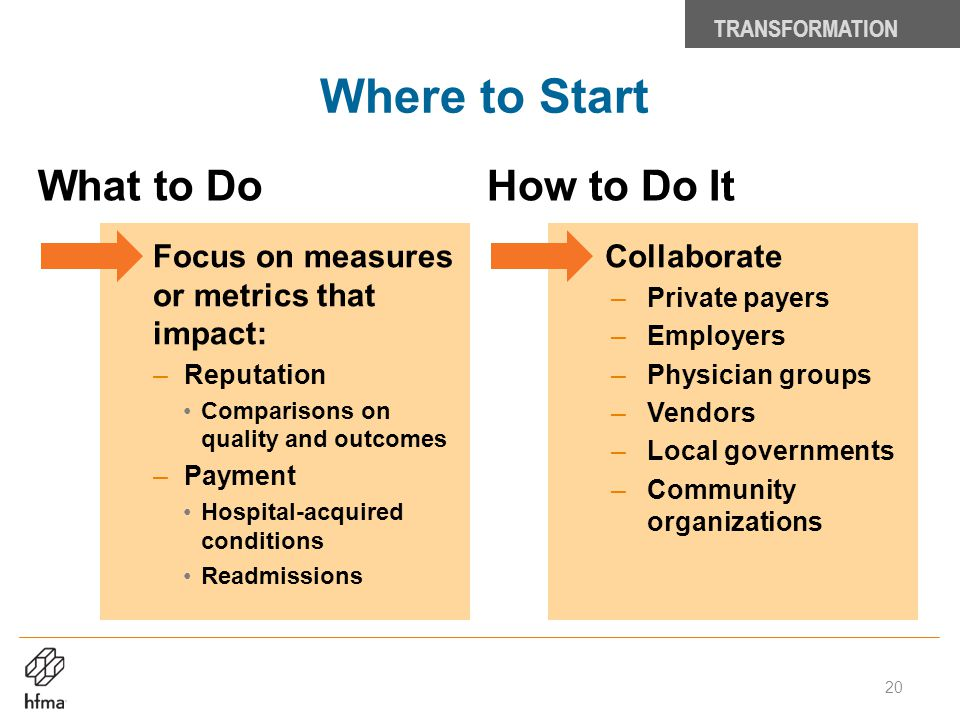 Where to Start TRANSFORMATION 20 What to DoHow to Do It Collaborate –Private payers –Employers –Physician groups –Vendors –Local governments –Communit
