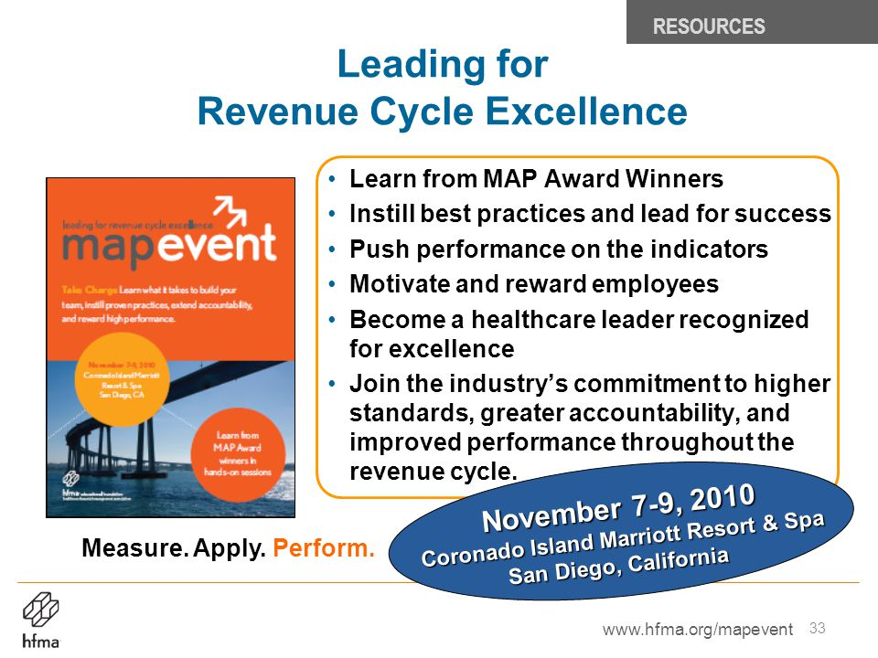 Leading for Revenue Cycle Excellence Learn from MAP Award Winners Instill best practices and lead for success Push performance on the indicators Motiv