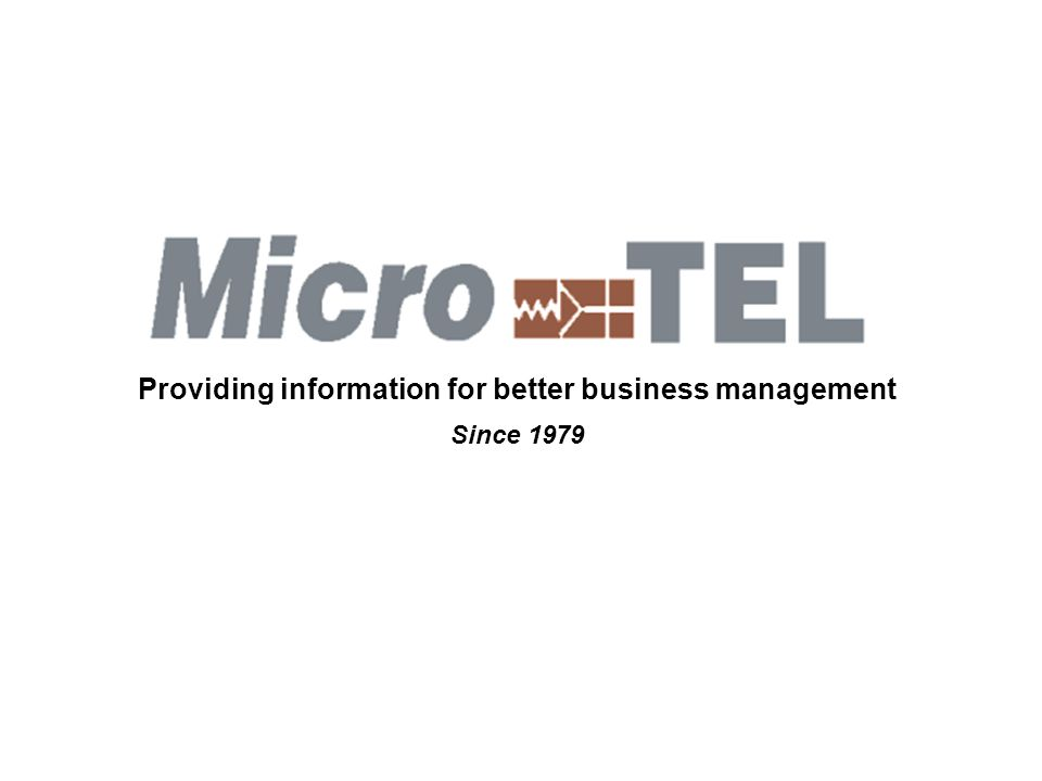 Providing information for better business management Since 1979