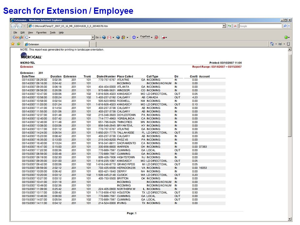 Search for Extension / Employee