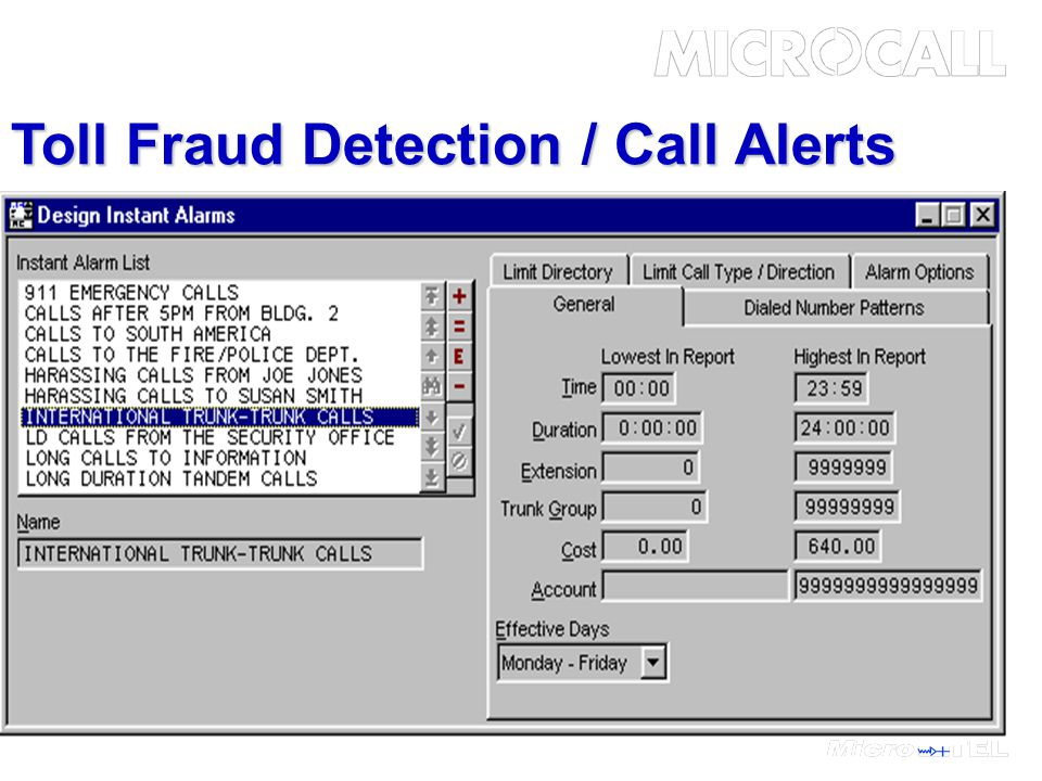 Toll Fraud Detection / Call Alerts