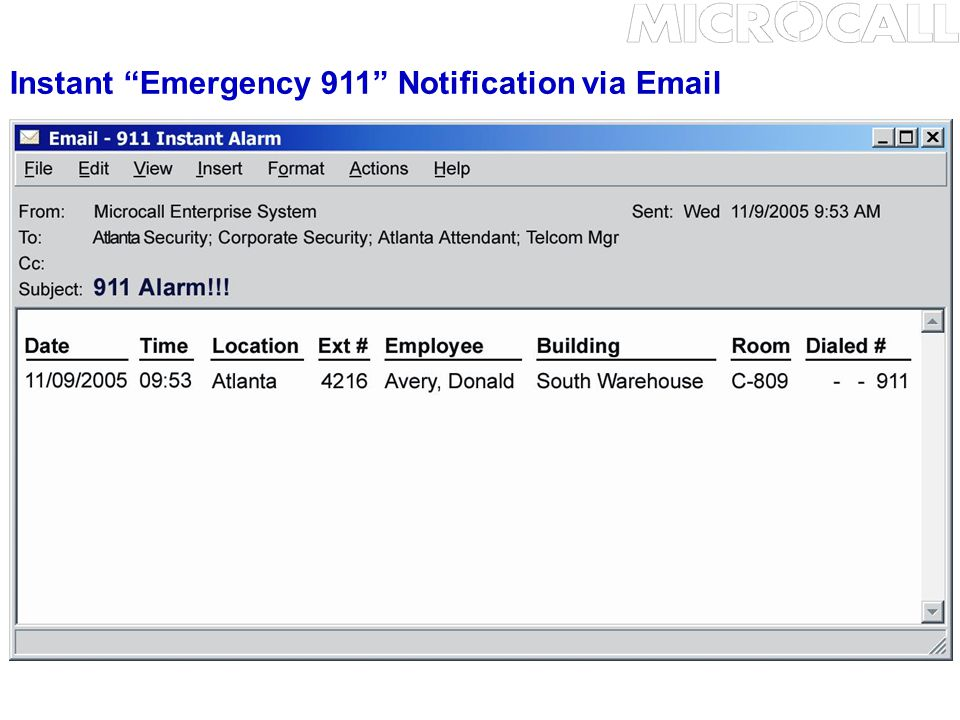 Instant Emergency 911 Notification via Email