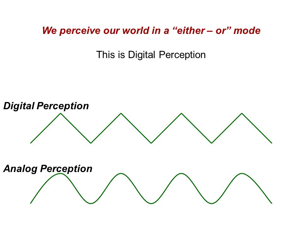 We perceive our world in a either – or mode This is Digital Perception Digital Perception Analog Perception