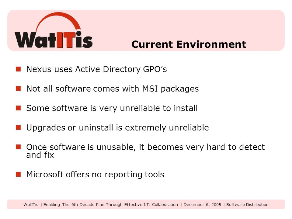 WatITis | Enabling The 6th Decade Plan Through Effective I.T.