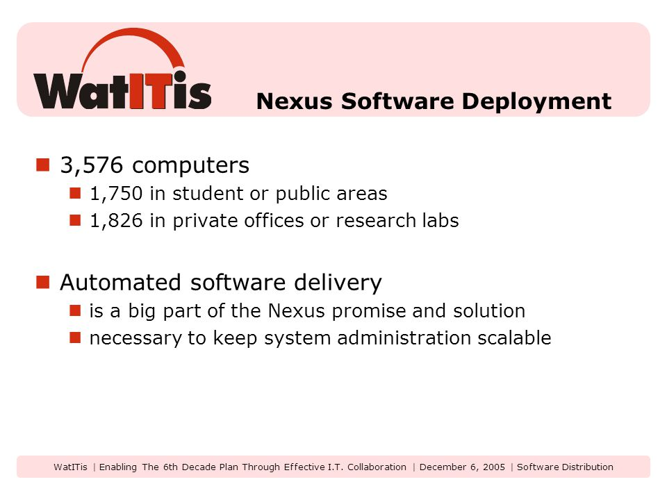 WatITis | Enabling The 6th Decade Plan Through Effective I.T. Collaboration | December 6, 2005 | Software Distribution Nexus Software Deployment 3,576