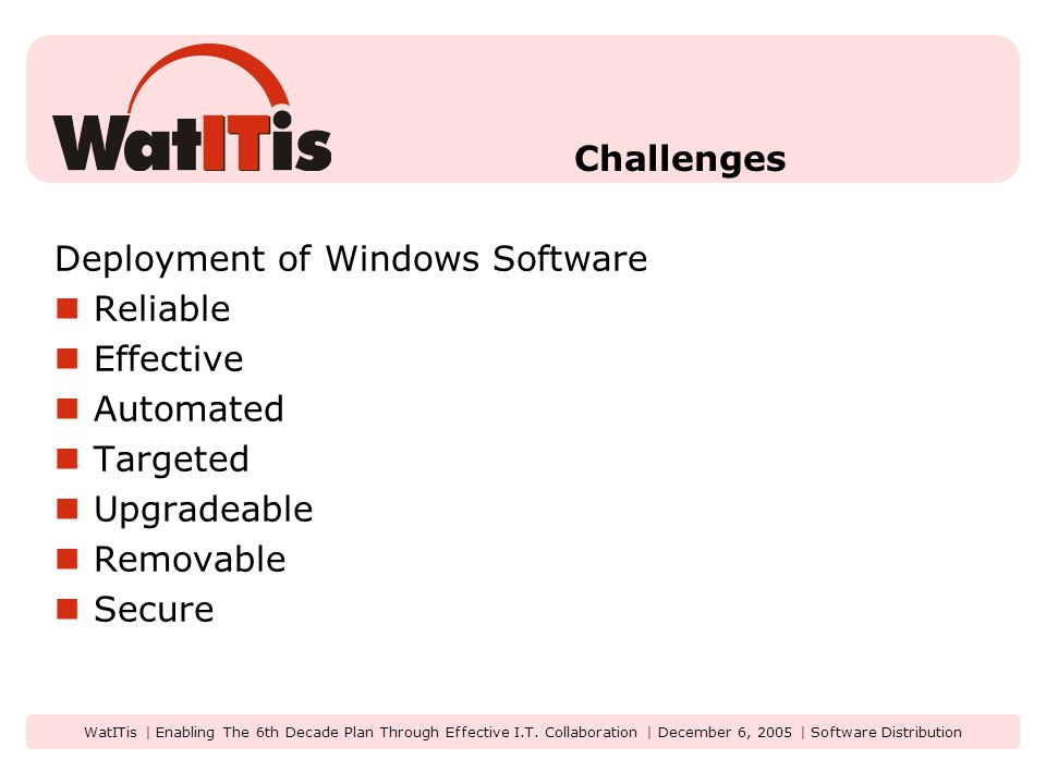 WatITis | Enabling The 6th Decade Plan Through Effective I.T. Collaboration | December 6, 2005 | Software Distribution Challenges Deployment of Window