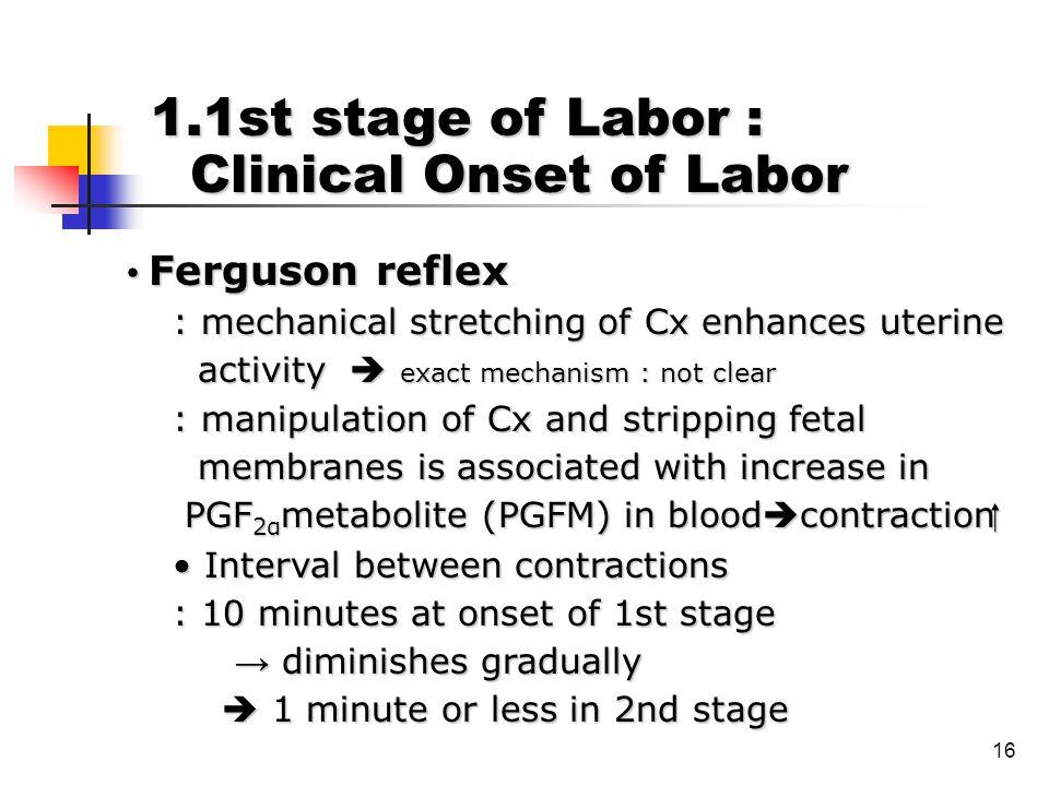 16 Ferguson reflex Ferguson reflex : mechanical stretching of Cx enhances uterine : mechanical stretching of Cx enhances uterine activity  exact mech