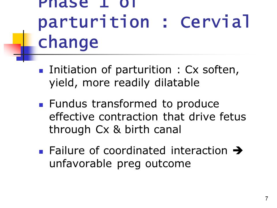 7 Phase 1 of parturition : Cervial change Initiation of parturition : Cx soften, yield, more readily dilatable Fundus transformed to produce effective