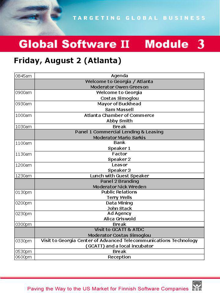 Global Software II Module I Friday, August 2 (Atlanta)