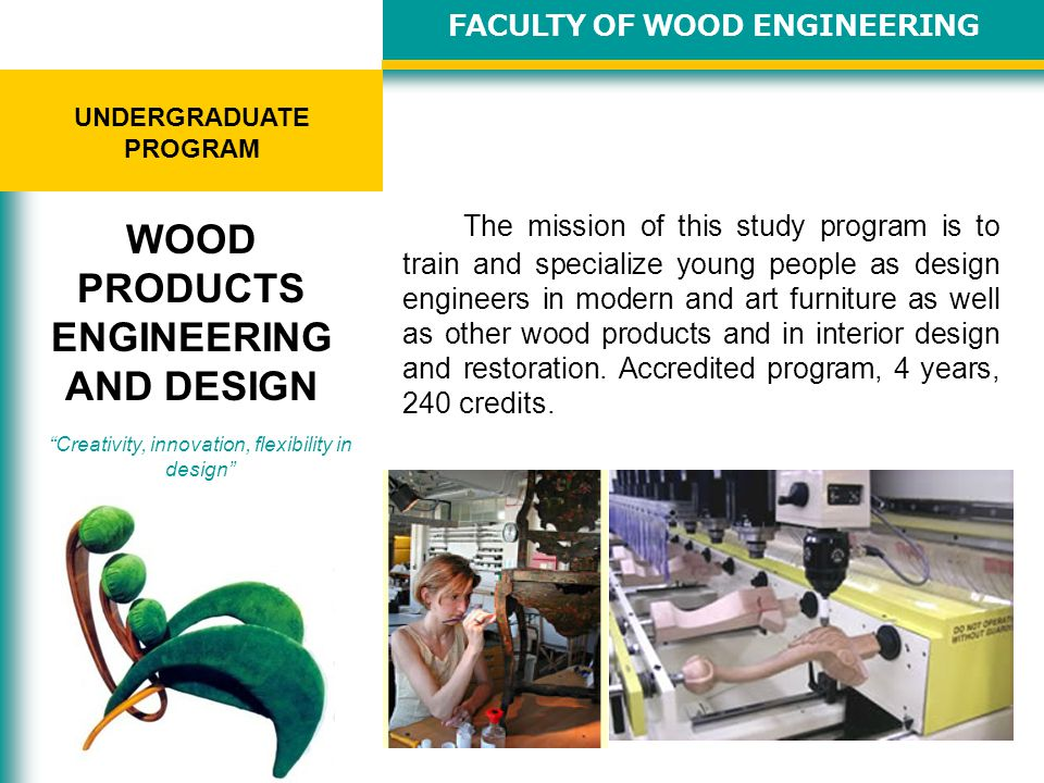 The mission of this study program is to train production engineers with grounded knowledge on various processing technologies related to timber, veneers, wood-based panels, wood wastes and their valorisation for the manufacturing of furniture and other wood products, for wood constructions or energy.