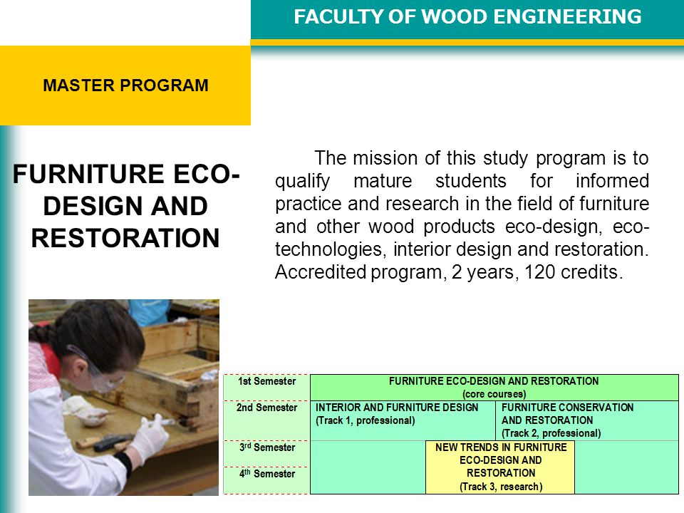 The mission of this study program is to qualify mature students for informed practice and research in the field of furniture and other wood products eco-design, eco- technologies, interior design and restoration.