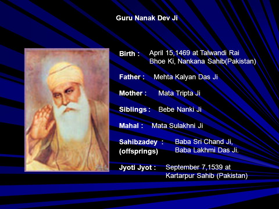 Guru Angad Dev Ji Birth : Father : Mother : Siblings : Mahal : Jyoti Jyot : Sahibzadey : (offsprings) March 31, 1504 at Matte Di Sarai (Punjab, India) Bhai Pheru Mal Ji Mata Daya Kaur Ji --- Mata Khivi Ji Bibi Amro, Bibi Anokhi, Baba Dasu and Baba Datu March 29, 1552 at Goindwal (Punjab, India)