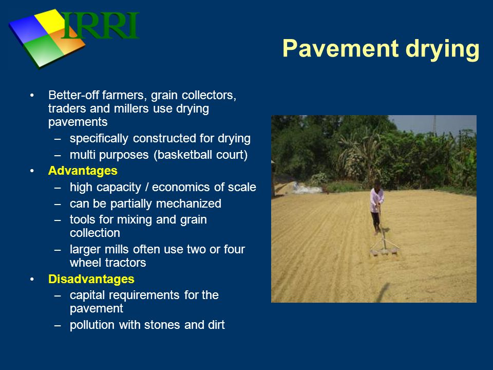 Pavement drying Better-off farmers, grain collectors, traders and millers use drying pavements – specifically constructed for drying – multi purposes (basketball court) Advantages – high capacity / economics of scale – can be partially mechanized – tools for mixing and grain collection – larger mills often use two or four wheel tractors Disadvantages – capital requirements for the pavement – pollution with stones and dirt